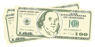 A lot of money. Many one hundred dollars lying together vector illustration