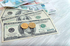A lot of money, rubles, dollars Royalty Free Stock Photos