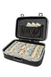 Lot of money in a suitcase isolated on white, with clipping path Stock Photos