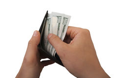 A lot of money and wallet Stock Photo