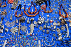 A lot of Moroccan craftsmanship. Moroccan craftsmanship exposed for sale in Chefchaouen Stock Photos