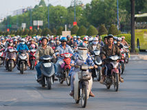 A lot of of motorbikers in Saigon city Stock Photos