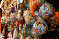 A lot of multi-colored glass spheres. To decorate interiors for Christmas Stock Photography