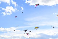 Lot of multi-colored kites in the sky vertical background stock photos
