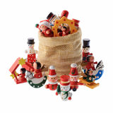 Lot of multicolored Christmas decorations in a Santa Claus bag Royalty Free Stock Image
