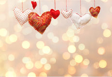 Lot of multicolored heart on shiny background Stock Photography