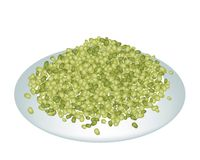 A Lot of Mung Beans on White Plate Stock Images