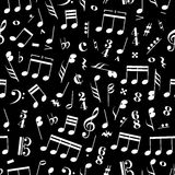 A lot of music signs and note on black background Royalty Free Stock Image