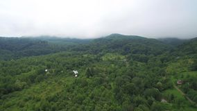 Lot nad góry zakrywa z mgłą Czarodziejskiej zieleni ogródy i drzewa zbiory wideo