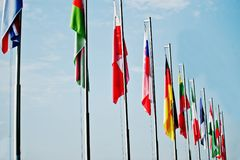 A lot of national flags of different countries.  Royalty Free Stock Photos