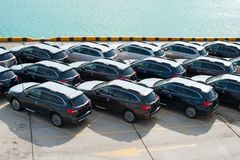 Novorossiysk, Russia - May, 18, 2017: A lot of new cars Subaru Forester parked on the site for sale. View from above Stock Photography