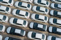 Novorossiysk, Russia - May, 18, 2017: A lot of new cars toyota corolla parked on the site for sale. View from above Stock Photography