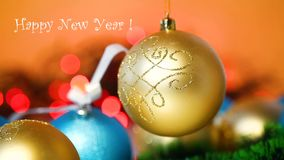 Lot of New Year`s toys. On a New Year`s background stock video