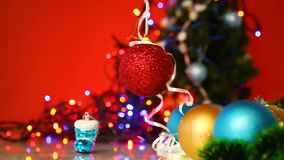 Lot of New Year`s toys. On a New Year`s background stock footage