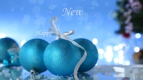 Lot of New Year`s toys. On a New Year`s background stock video footage