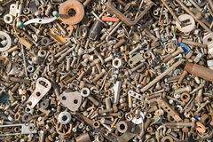 A lot of old bolts and nuts Royalty Free Stock Images