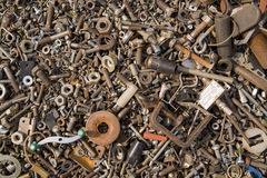 A lot of old bolts and nuts Royalty Free Stock Photos