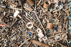 A lot of old bolts and nuts Stock Photography