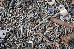 A lot of old bolts and nuts Royalty Free Stock Photo