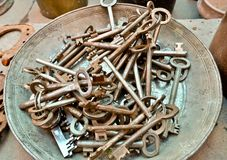 A lot of old brass key Stock Photos