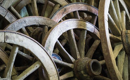 A lot of old cart-wheel Royalty Free Stock Image