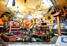 Lot of old furniture in a traditional Persian restaurant tearoom Royalty Free Stock Images