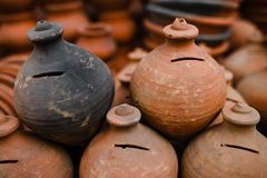 A lot of old jugs Stock Image