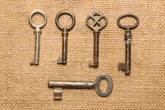 A lot old keys to the safe on a very old cloth Stock Photo