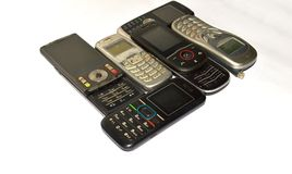 Lot of old mobile phones. Stock Photos