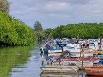 Lot of olds boats at Cojimar river / Embarcaciones en el Rio de Cojimar. Boats and fishermen on the Cojimar river / Botes y Embarcaciones en el rio de Cojimar royalty free stock image