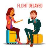 Lot Opóźniający, Odwoływający kreskówka Wektorowy Plakatowy szablon ilustracji