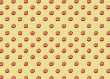 Lot of organic healthy fresh big red ripe tomatoes on yellow background. Close Stock Image