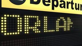 Lot Orlando na lotnisko międzynarodowe odjazdów desce Podróżować Stany Zjednoczone wstępu konceptualna animacja ilustracja wektor