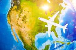 Lot Północna Ameryka symboliczny wizerunek podróż płaską mapą ilustracji
