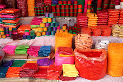 Colorful Tika Powders on Indian Market, India. A lot of packets of different colors for sale on indian market Stock Photos