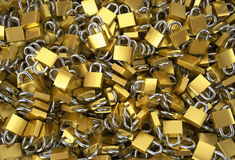 A lot of padlocks. A lot of padlocks as a background closeup Royalty Free Stock Image