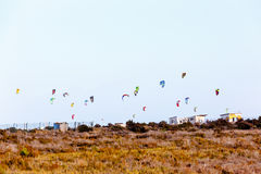Lot of parachutes for Kitebording Stock Image