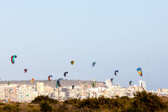 Lot of parachutes for Kitebording Royalty Free Stock Images