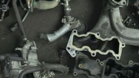 A lot of parts from the engine.