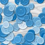 A lot of pastel blue multi colored clothing plastic buttons randomly scattered on the gray background - top view. A lot of pastel blue multi colored vintage Vector Illustration