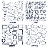 Lot of Patterns of Font Banners Frames and Bubbles vector illustration