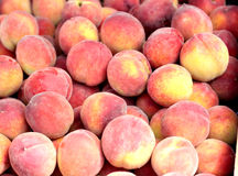 It is a lot of peaches. It is a lot of ripe fruits of a peach. Horizontal photo Stock Photography