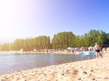 Beach. A lot of people on the beach with trees royalty free stock image