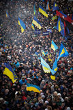 A lot of people came on the Independence Square during revolution in the Ukraine Stock Photos