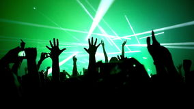 Lot of people clapping at rave party. Here is footage of people crowd partying at a concert or a night club. You can see dark silhouettes dancing, jumping and stock video