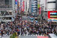 Lot of people crossing crosswalk at Shinjuku Stock Photography