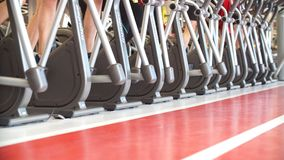 A lot of people are engaged on treadmills in gym. A lot of people are engaged on treadmills in gym stock footage
