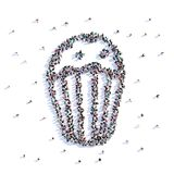 A lot of people form cookie, icon . 3d rendering. A lot of people form cookie, icon on a white background. 3d illustration. 3d rendering Royalty Free Stock Photos