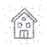 A lot of people form house, farming, icon . 3d rendering. stock illustration