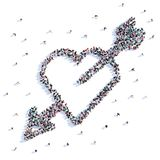 A lot of people form love, heart with an arrow, icon . 3d rendering. A lot of people form love, heart with an arrow, icon on a white background. 3d illustration Stock Illustration